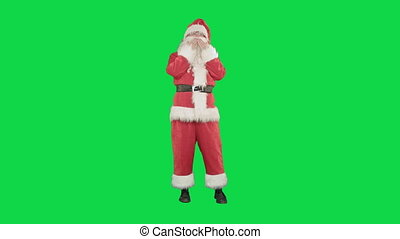 Santa sends a kiss in the form of the heart on a Green Screen Chrome Key