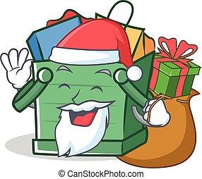 Santa shopping basket character cartoon