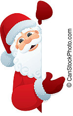 Santa Claus holding blank sign. You can add as much white space as you need. No transparency used. Basic (linear) gradients.