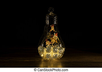 Santa sign with Christmas Lights in glass light bulb