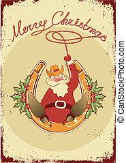 Santa sit on horseshoe with cowboy lasso on vintage poster