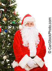 Santa Sitting Under Christmas Tree