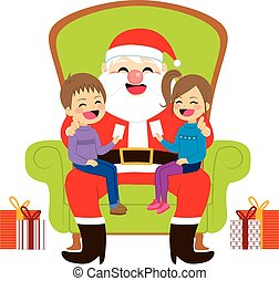 Santa Sitting With Kids - Two cute siblings kids sitting on...