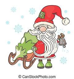 SANTA SLED Merry Christmas Cartoon Vector Illustration Set