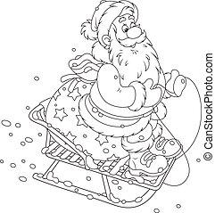 Santa sledding with gifts - Santa Claus with his bag of...