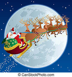 Santa Sleigh 2 - Santa Claus, flying in his sleigh. No...