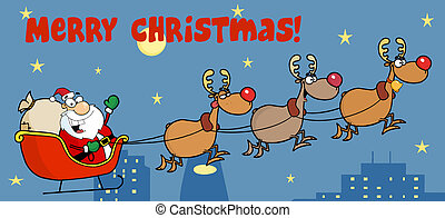 Merry Christmas Greeting Above A Team Of Reindeer And Santa In His Sleigh Flying