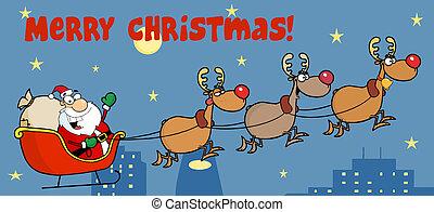 Santa Sleigh And Reindeer