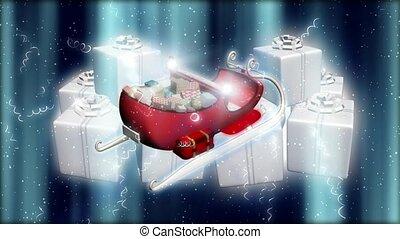santa sleigh, auf, geschenke