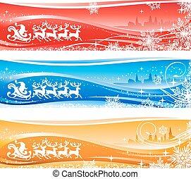 Santa Sleigh Christmas Background
