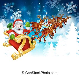 Santa Sleigh Christmas Background - Winter Christmas scene...