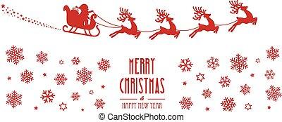 santa sleigh reindeer flying red silhouette merry christmas