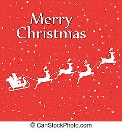 Santa sleigh reindeer  silhouette with snow