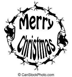 Santa sleigh reindeers in circle
