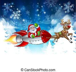 Santa Sleigh Rocket Christmas Background
