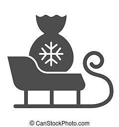 Santa sleigh solid icon. Sleigh with santa bag vector illustration isolated on white. Sledge glyph style design, designed for web and app. Eps 10.