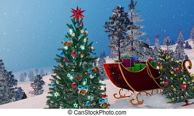 santa sleigh, und, dekoriert, weihnachtsbaum, 4k
