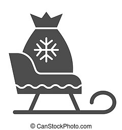 Santa sleigh with gifts solid icon. Christmas sledge vector illustration isolated on white. Sleigh with present bag glyph style design, designed for web and app. Eps 10.