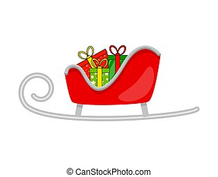 santa sleigh with presents for christmas design isolated on white background