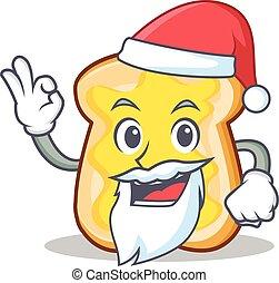 Santa slice bread cartoon character vector art illustration