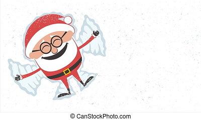 Santa Snow Angel - Animation with Santa Claus making snow...