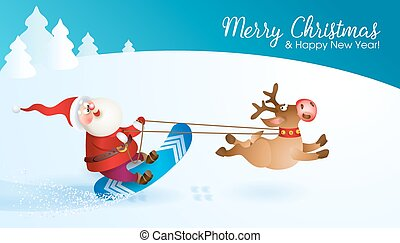 Santa snowboarding with Reindeer. Merry Christmas card with...