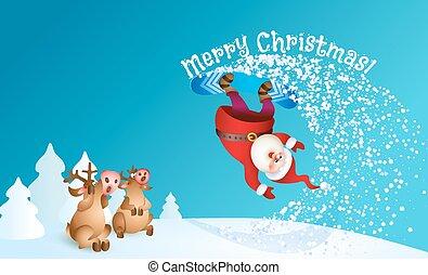 Santa snowboarding with Reindeer - Santa snowboarding. Merry...