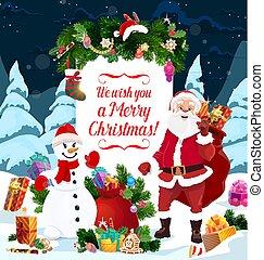 Santa, snowman and Christmas gifts. Greeting card