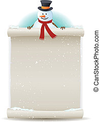 Illustration of a cartoon Santa snowman character holding white parchment sign for christmas and winter holidays or children gift list