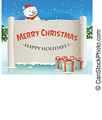 Santa Snowman Behind Christmas Parchment Background