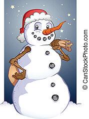 Santa Snowman Cartoon Christmas Mas