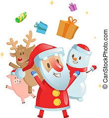 Santa, snowman, deer, and piggy cartoon Christmas card. Flat vector illustration. Isolated on white background.