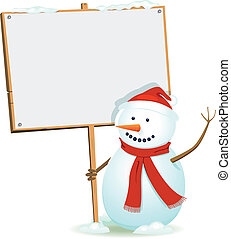 Santa Snowman Holding Wood Sign