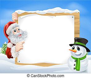 Santa Snowman Snow Scene - Santa and cartoon Snowman Snow...