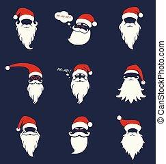 santa, sombreros, bigote, y, beards.