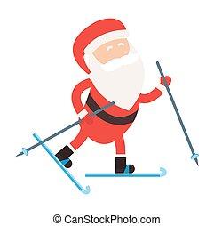 santa, sport, dessin animé, illustration, hiver