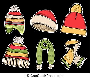 Santa stocking cap and Scarfs. - Winter clothes. Santa...