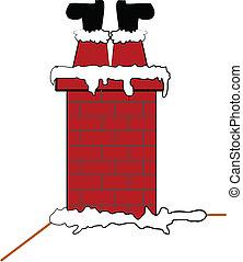 santa stuck in chimney - Santa stuck upside down in chimney...