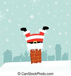Santa Stuck In Chimney - Cute fat santa stuck in chimney.