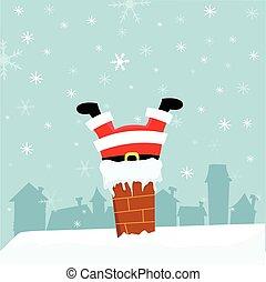 Santa Stuck In Chimney - Cute fat santa stuck in chimney.