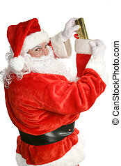 Santa Claus stuffing a Christmas stocking. Focus on Santa's face. Isolated on white.