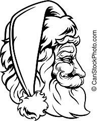 santa, style, claus, noël, woodcut