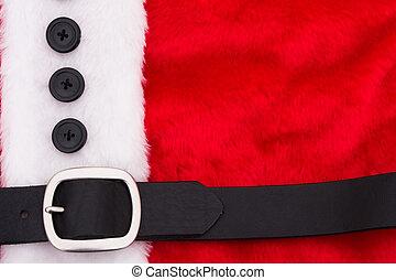 A close up of a santa suit, santa suit background
