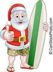 santa, surfboard, segurando, shorts