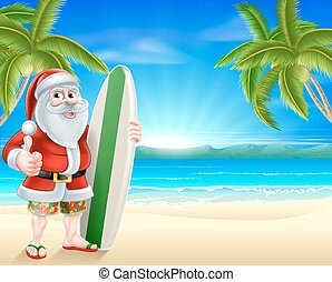 Santa surfer on tropical beach - Cartoon of Santa Claus...