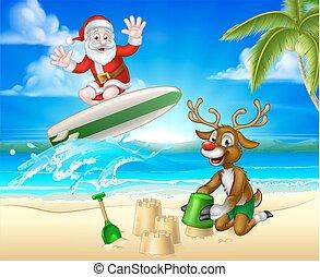 santa, surfing, e, renna, su, spiaggia tropicale