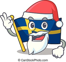 Santa swede flags flutter on character pole vector ...