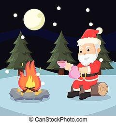 santa taking break illustration design