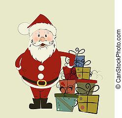 santa., tarjeta de navidad
