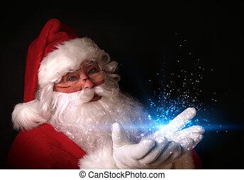 santa, tenue, magique, lumières, dans, mains